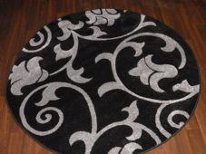 MODERN NEW 140X140CM CIRCLE RUG WOVEN BACK HAND CARVED BLACK/SILVER DEMASK RANGE